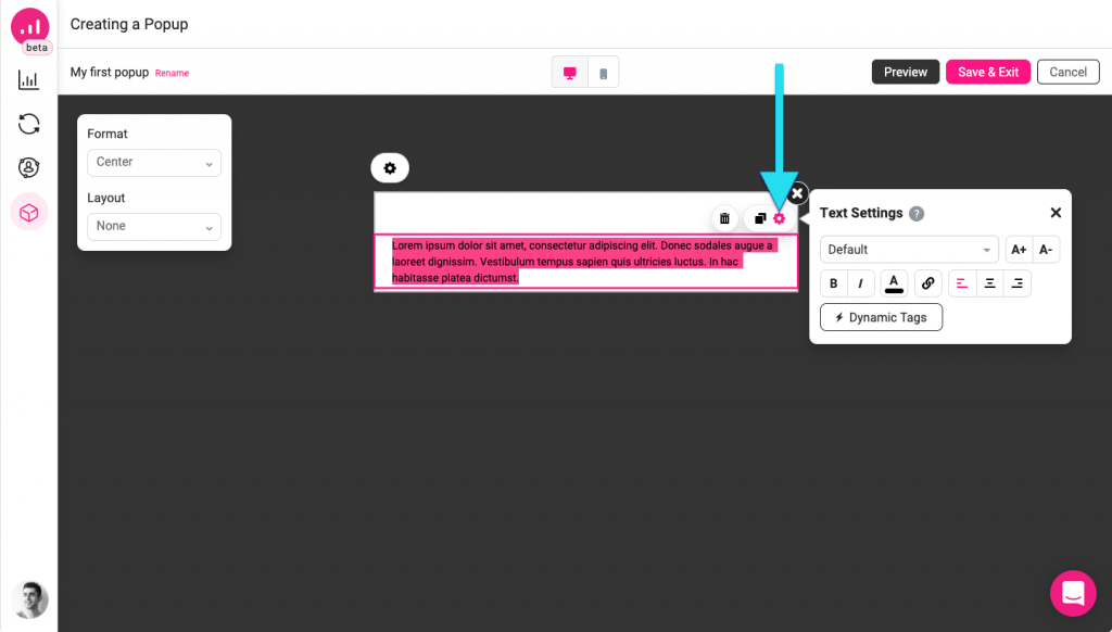 Editing an element - Growmatik popup builder