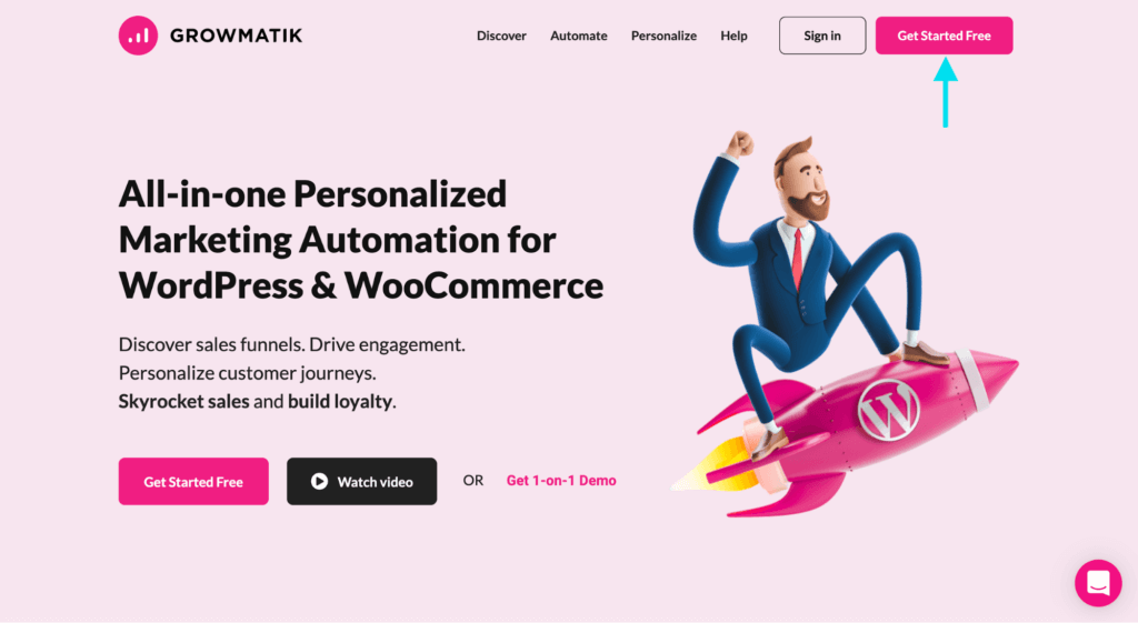 integrate with growmatik - landing page