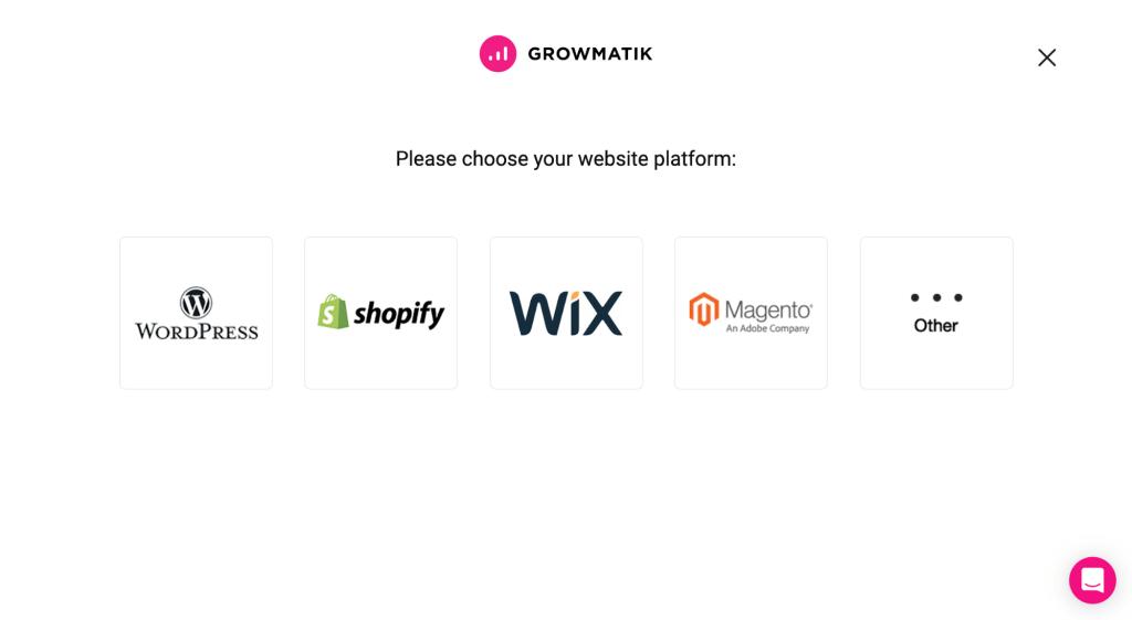 integrate with growmatik - choosing platform