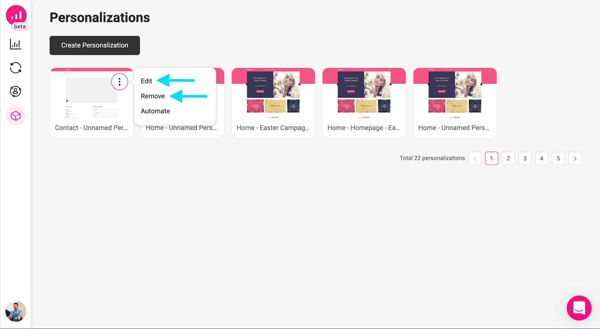 webpage personalizer - editing personalization