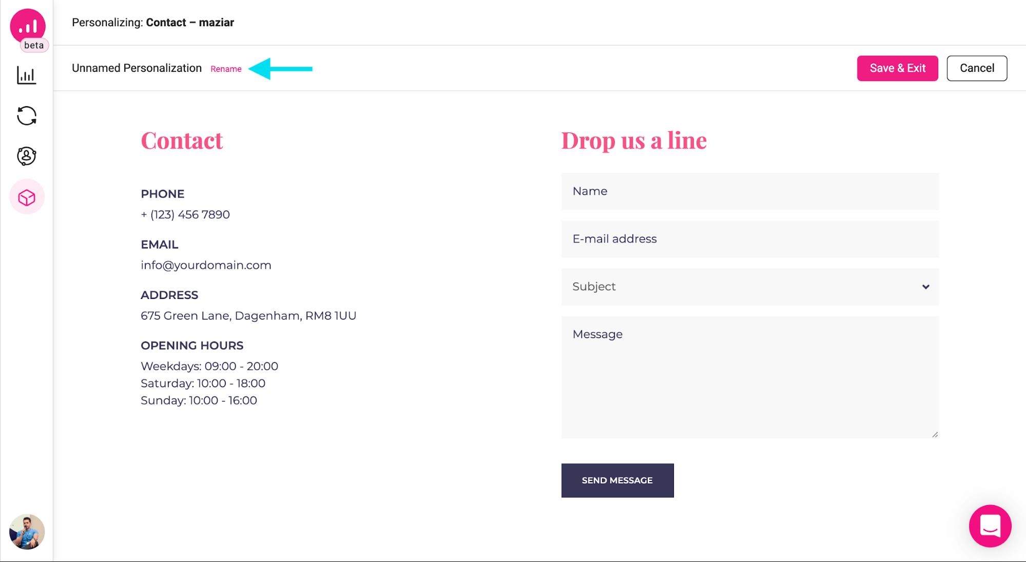 webpage personalizer - renaming personalization