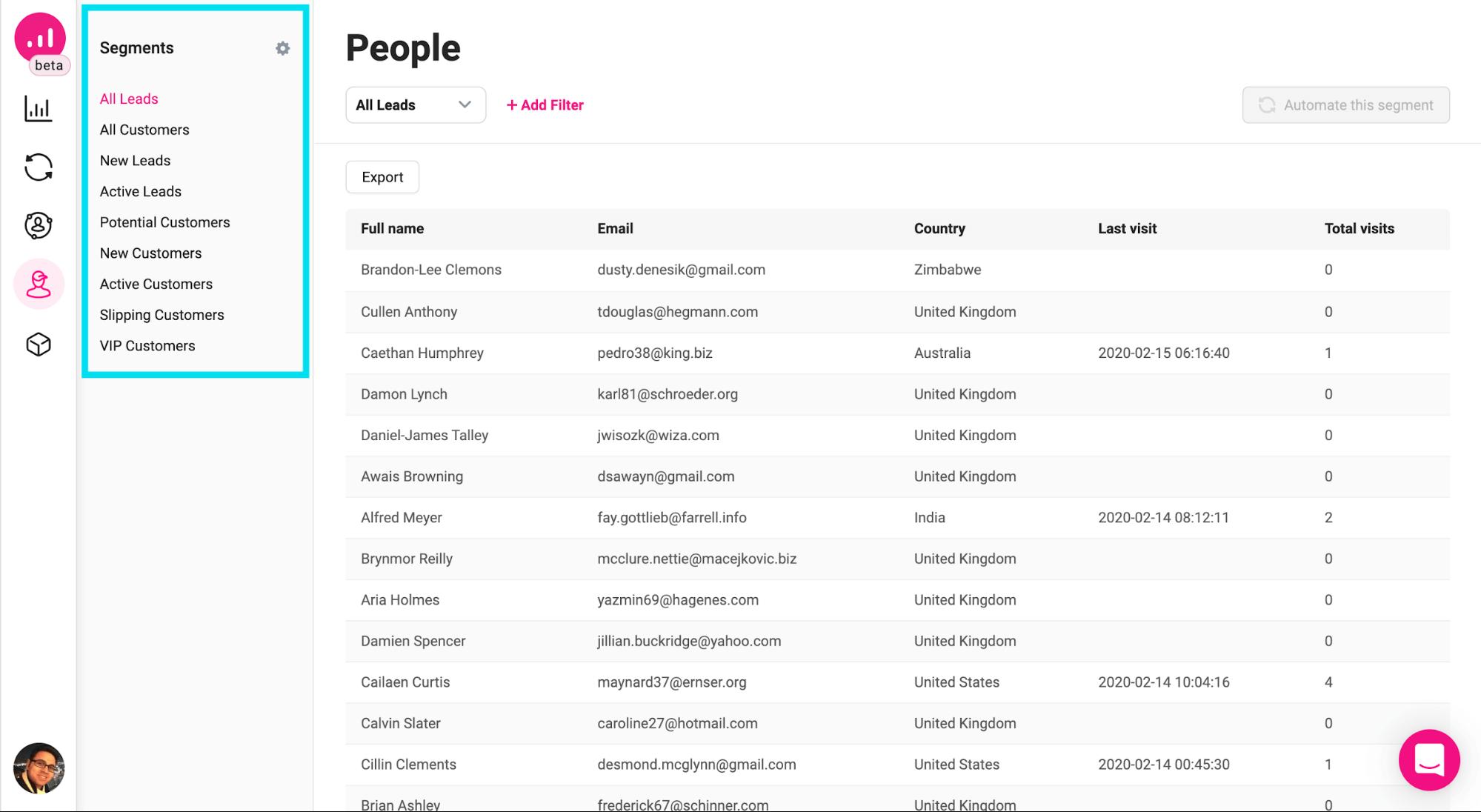 people - default segments