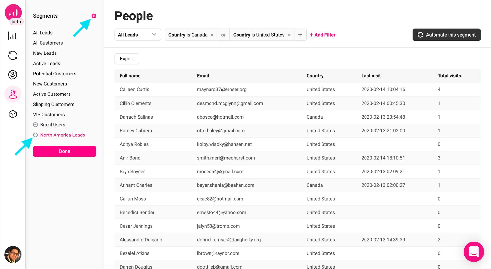 people - deleting custom segment