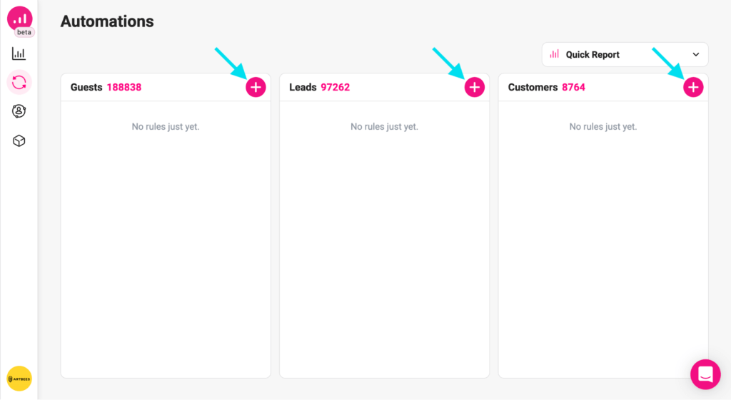 personalize action - automation page
