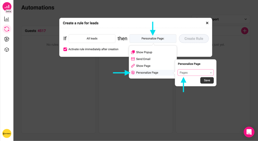 personalize action - personalize page