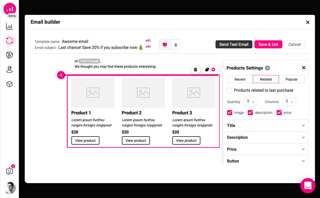 inactive customers in WooCommerce - Growmatik email builder - related products