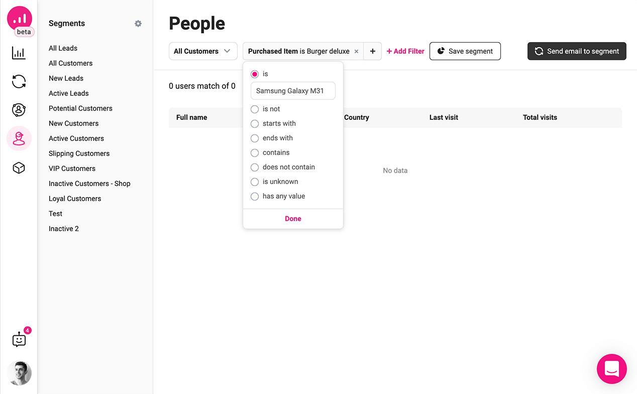automated customer segmentation to grow a WooCommerce website - segment smartphone buyers