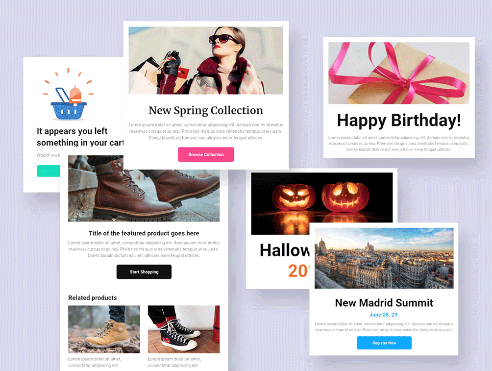 personalized emails for wordpress - premade email templates