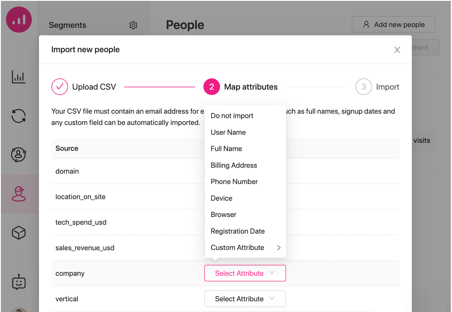new features - custom user attributes