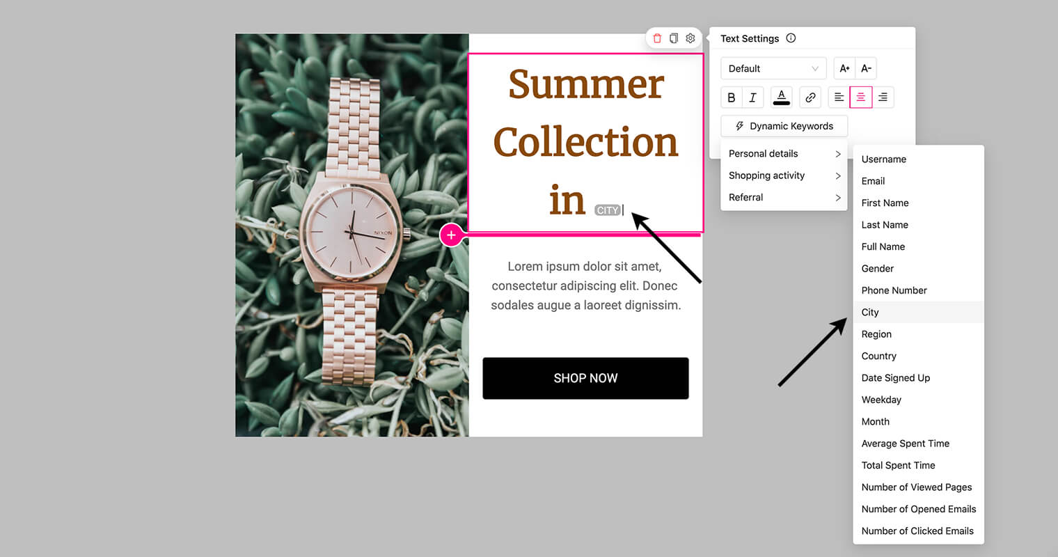 personalize content with dynamic keywords - Personalize email and popup content with the recipient's geolocational details