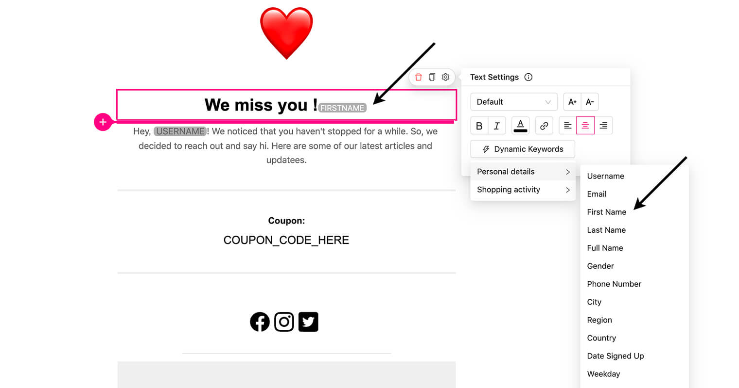 personalize content with dynamic keywords - greeting - emails