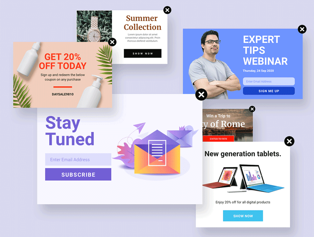 personalized popups for wordpress - popup premade templates