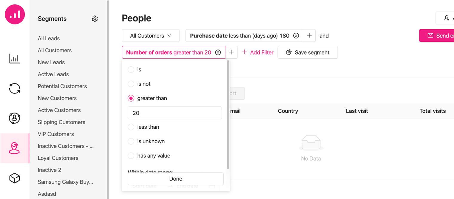 Best customers - Growmatik - RFM segmentation - number of orders