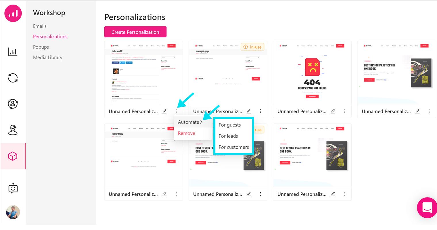 Website Personalizer - Growmatik - automate personalization
