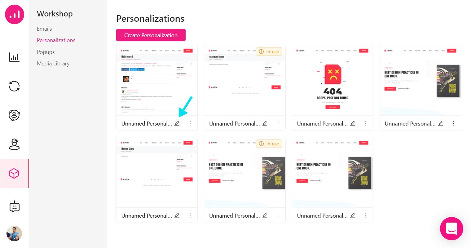 Website Personalizer - Growmatik - edit persoanlization