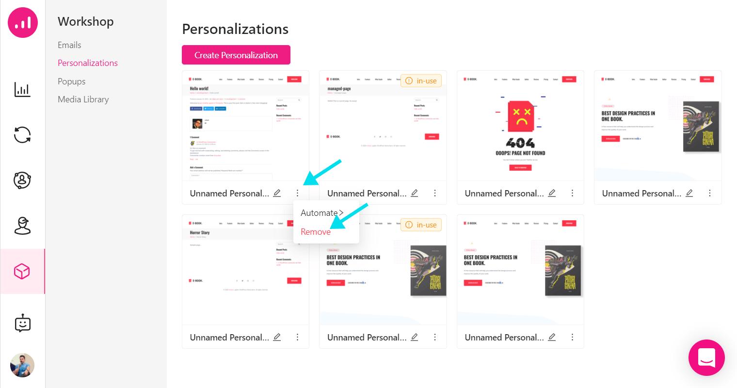 Website Personalizer - Growmatik - remove personalization