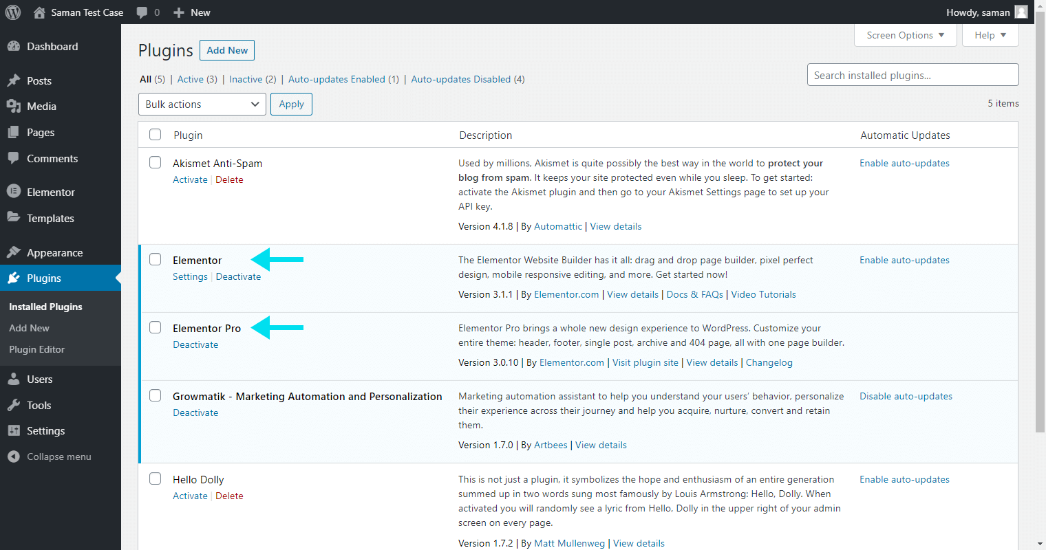 Elementor Pro - WP dashboard
