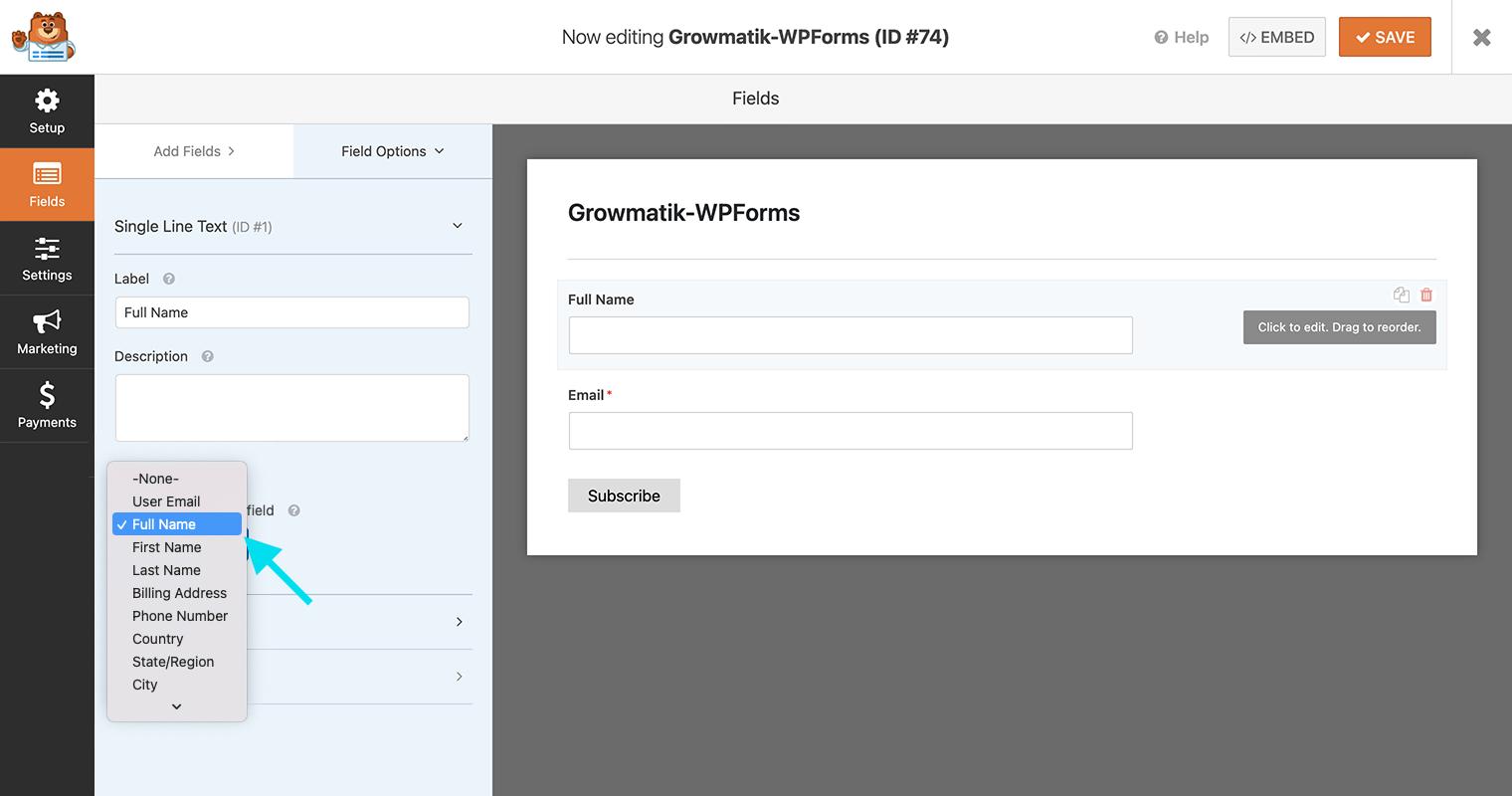WPForms Growmatik fields