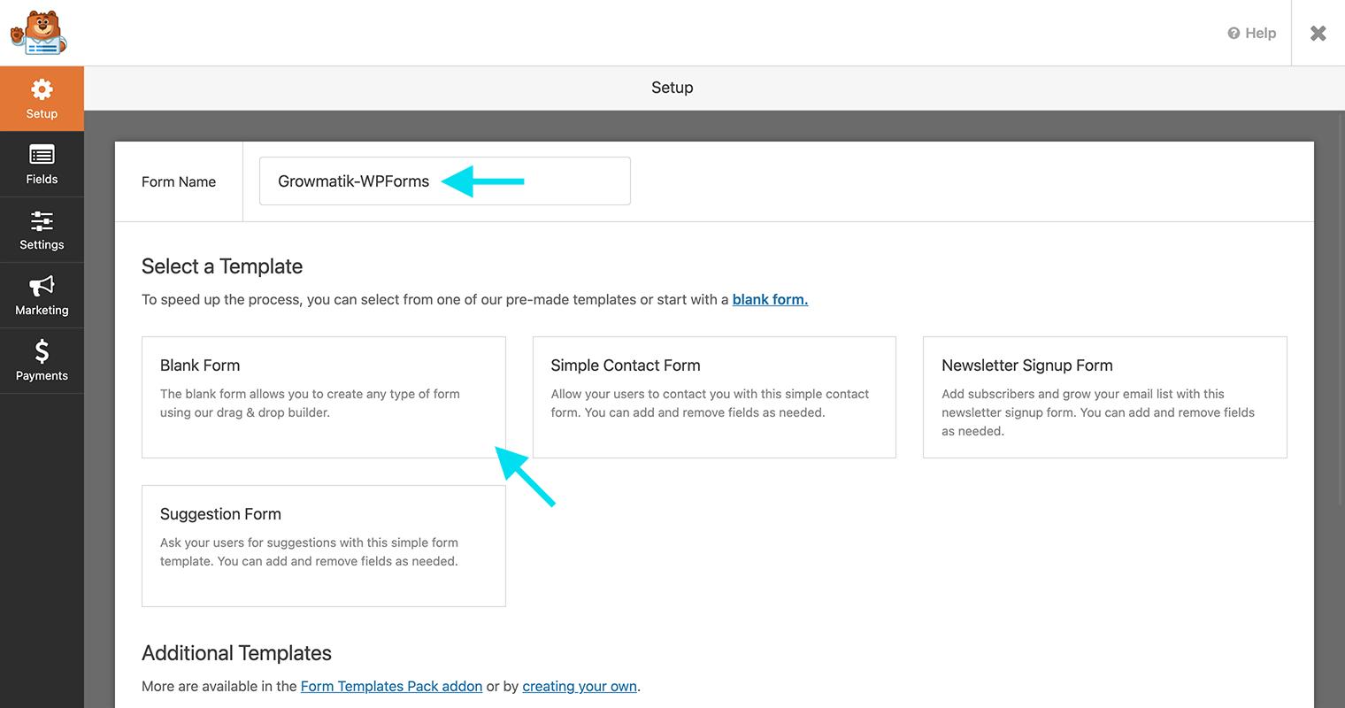 WPForms blank form