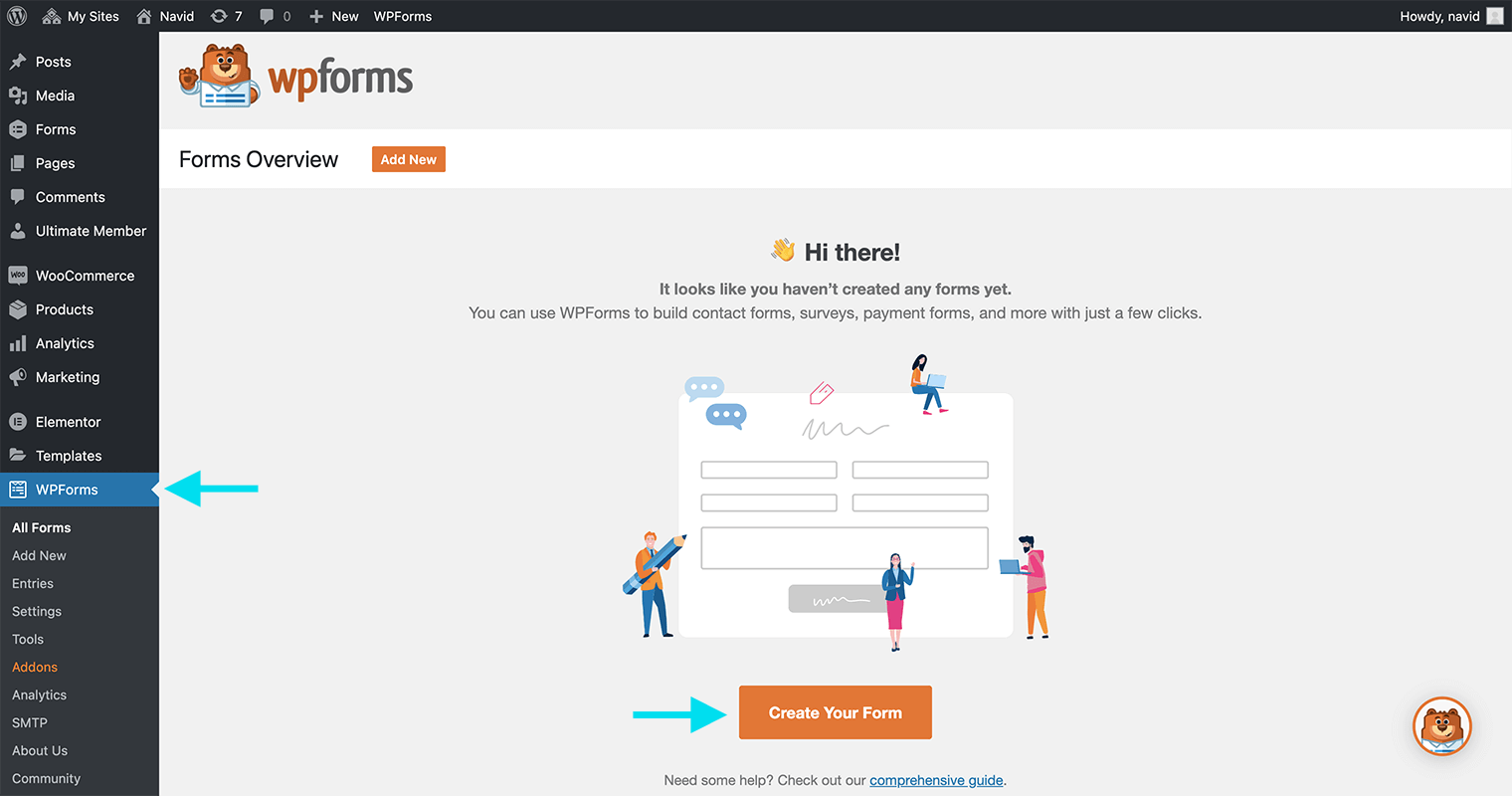 WPForms create your form