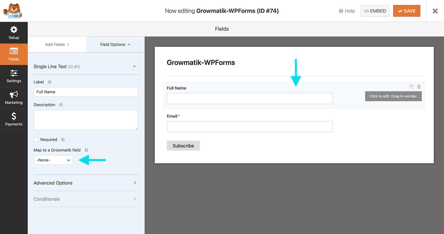 WPForms field options