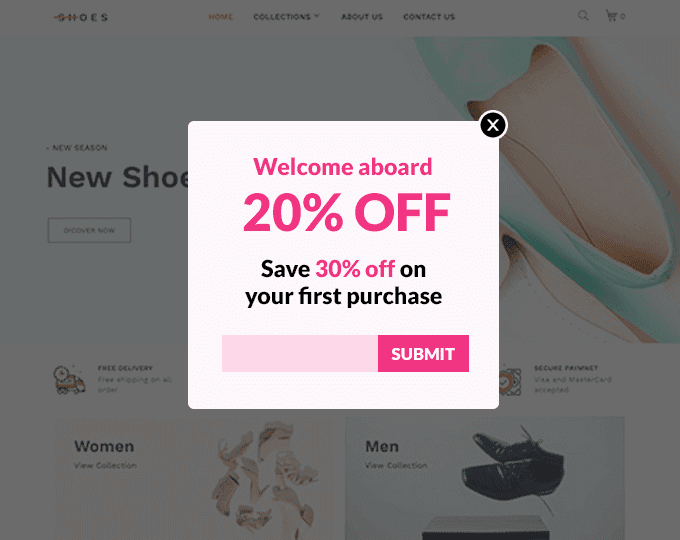 Show a lead an exit popup with a coupon for their first purchase