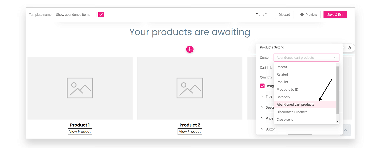 abandoned cart email templates - personalized webpages