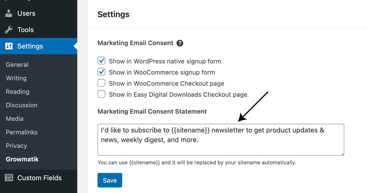 GDPR and marketing automation - WordPress settings